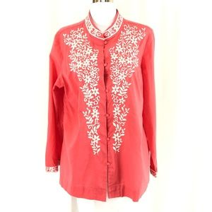Talbots Womens Top Tunic Embroidered Floral